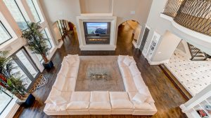 Birdseye view of luxury home with stove in the centre